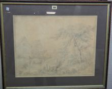 Follower of George Morland, Horse and cart crossing a bridge in a landscape, pencil,