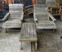 Garden furniture comprising; a pair of teak low armchairs,
