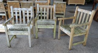 Westminster Teak; a set of five garden open armchairs and a pair of matching low square side tables,