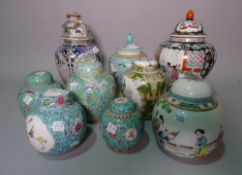 Asian collectables, comprising; a group of ten 20th century porcelain ginger jars and covers, (10).