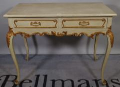 A Louis XV style green painted and parcel gilt decorated two drawer side table
