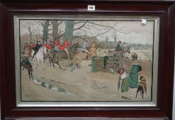 After Cecil Aldin, Hunting scene; After the Hunt, a pair of colour lithographs, each 37cm x 61cm.