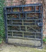 A set of three 20th century Parisian black painted alloy gates, each, 112cm wide x 121cm high, (3).