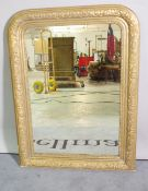 A late 19th century gilt framed overmantel wall mirror, 77cm wide x 97cm high.