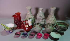 Asian ceramics, including; 20th century decorative vases, large rose bowl,