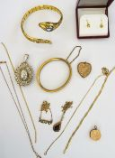 A collection of gold and costume jewellery,