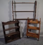 18th century style furniture, comprising; an oak hanging shelf with cupboard base,