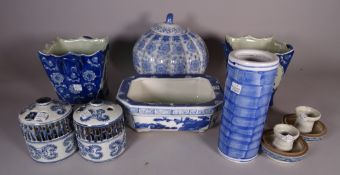 Asian ceramics, including; 20th century blue and white ginger jars, vases,