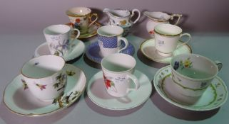 Ceramics; a group of cups and saucers and decorative plates, including Herend, Royal Crown Derby,