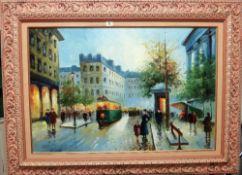 ** Aparisi (20th century), Paris street scene, oil on canvas, signed, 59cm x 89cm.