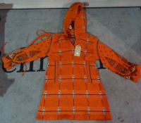 Clothing, comprising; a Bill Gibb, London red wool hooded tunic/dress with matching hat,