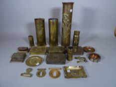 Militaria collectables, comprising; trench art shell cases, tins, buckles and sundry, (qty).