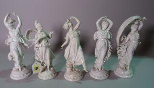 A group of five Italian white glazed porcelain female figures, 25cm high, (a.f.), (5).