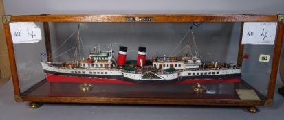An early 20th century scratch built model of a paddle steamer, Waverley, in a glazed oak case,