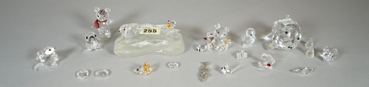 Swarovski, a group of sixteen crystal figures, including, ducks, mice, bears and sundry, (qty).