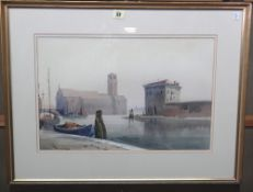 J Barrie Haste (1931-2011), Canal in Chioggia, Italy, watercolour, signed, 33cm x 50cm.