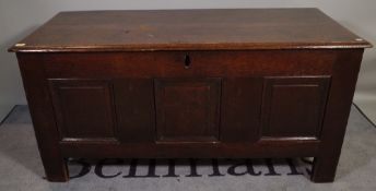 An 17th century and later oak triple plank coffer, 125cm wide x 65cm high.