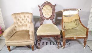 A late Victorian mahogany framed low armchair on tapering square supports,