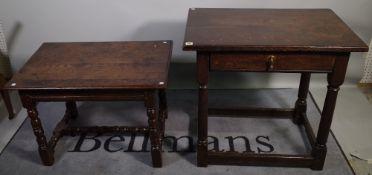 An 18th century oak single drawer side table 80cm wide x 77cm high and an 18th century oak low side