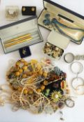 A group of costume jewellery, including bead and other necklaces, brooches, imitation pearls,