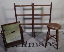 A Victorian mahogany folding clothes rail, 90cm wide x 90cm high,