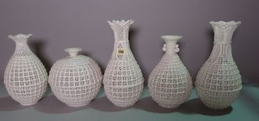 Ceramics, comprising; modern white glaze decorative porcelain vases with pierced basket decoration,