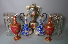 Ceramics, including; a pair of Royal Crown Derby ewers (a.f.