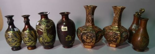 Asian interest, a group of 20th century bronze vases, including some pairs, (qty).