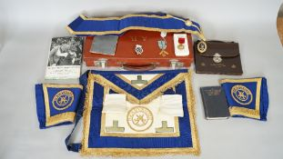 A group of Masonic regalia, comprising; a gold Masonic jewel, detailed Dorothy Vernon Lodge No 2129,