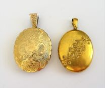 A Victorian gold back and front, shaped oval twin sided pendant locket,