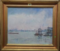 John Denahy (b.1922), The River at Woolwich, oil on canvasboard, 34cm x 43cm.