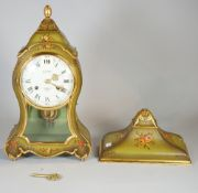 A 20th century Le Castel green and gilt painted bracket clock with floral decoration, 40cm high,