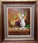 J** Perez (20th century), Still life with flowers in a jug, fruit and a basket, leeks and garlic,