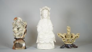Asian interest, comprising; two 20th century Chinese soapstone figures,