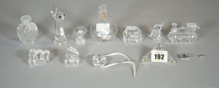 Glassware, including; a Lalique vase, 6cm high, a glass snuff bottle and six Swarovski figures,