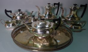 Sliver plated wares, including a tea and coffee set, a galleried tray and sundry, (qty).