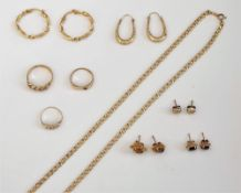 Mostly 9ct gold jewellery, comprising; three rings, a pair of smoky quartz single stone earstuds,