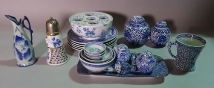 Asian ceramics, comprising; blue and white ginger jars, vases, bowls, plates and sundry, (qty).