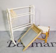 A group of decorative interior items, comprising; a pale grey painted three tier wooden towel rail,