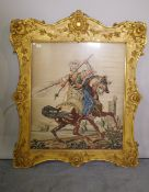 A 19th century needlework tapestry, depicting a Persian figure on horseback, in a shaped gilt frame,