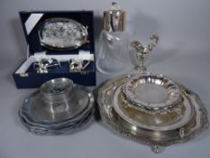 Silver plated wares, including; a large Asprey water jug, 30cm tall, plated salvers,