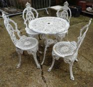 A 20th century white painted metal garden table,