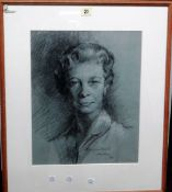Stephen Ward, 20th Century, two charcoal portraits, both and signed and inscribed, one dated '60',