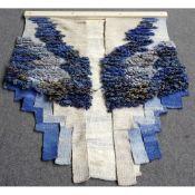 "Elda Abramson (Contemporary British)""Blue Angel"", tapestry weaving, mounted on a wooden batten,"