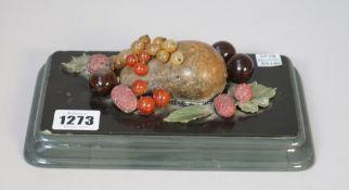 An Italian hardstone desk ornament, late 19th century,