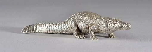 A Patrick Mavros model of a crocodile, detailed 20 12 04, length 22cm, gross weight 565 gms.