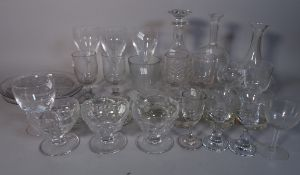 Glassware to include 19th century and later decanters, an assortment of drinking glasses and sundry.