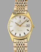 An Omega Automatic gilt metal fronted and steel backed gentleman's wristwatch,
