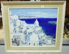 R. M. Dujardin (20th century), A Greek coastal view, oil on board, signed, 49cm x 59.5cm.