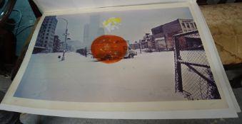 R** Whi**(20th century), American city, colour screenprint,